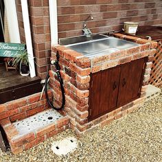 Garden Sink, Fire Grill, Water Tap, Garden Fountains, Backyard, Patio, Barbacoa, Wood Projects, Diy And Crafts