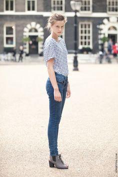 stripes + high-rise jeans