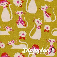 Beauty Shop by Melody Miller & Sarah Watts Fancy Cats Yellow fabric cotton + steel fabrics retro vintage-inspired fabric modern quilting supplies Siberian Cats For Sale, What Cats Can Eat, Cats And Cucumbers, Cats Eye Stone, Fancy Cats, Yellow Cat, Mustard Yellow, Cat Fabric, Cotton Quilting Fabric