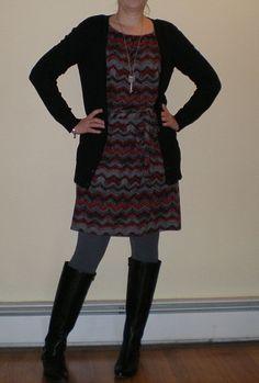 Bashful Fashionista | OOTD: Casual Holiday Party | chevron dress, black cardigan, tights, boots