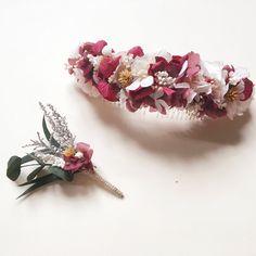 Tocado de flores preservadas en tonos rosa JULIA - Pink preserved flower headpiece - Bridal headpiece - Tocado para novia y invitada de margotblanxart en Etsy