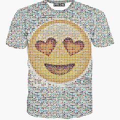 Concentrated emoji t shirt smiley face tee short sleeve, big smile face prints, many small emoji pattern, QQ emoticons cartoon cute emoji t shirts is unisex, for men or women. Yellow Tees, Yellow T Shirt, Mma T Shirts, Shirt Hoodies, Mode 3d, Hip Hop, Funny Fashion, Fashion Men, Casual T Shirts