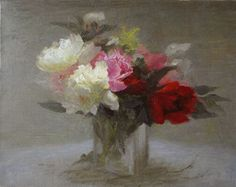 Old Fashioned Peonies by Richard Kochenash, Oil, 14 x 18 Landscape Paintings, Floral Paintings, Watercolor Sketch, Light Art, White Flowers, Still Life, Peonies, Oil On Canvas, Bloom