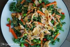 The Gingered Whisk: Thai Kale Salad with Chicken and Peanut Dressing