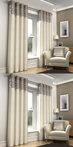 Retro look plain eyelet top / ring top curtains skye faux silk look fully lined - Dome Decoration Living Room Decor Curtains, Home Curtains, Curtains With Blinds, Window Curtains, Bedroom Decor, Curtain Panels, Cream Curtains, Luxury Curtains, Modern Curtains
