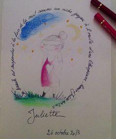 Carte de naissance de Juliette (c)AP/2013 Pastel et crayons