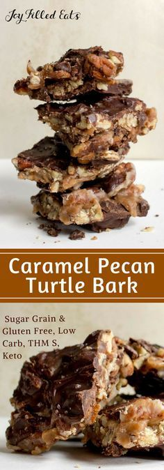 Caramel Pecan Turtle Bark - Low Carb, Sugar-Free, THM S, Keto - The ultimate indulgence. This tastes like the very best caramel pecan turtle from a chocolate shop but it is healthier, cheaper, and so easy to make at home.
