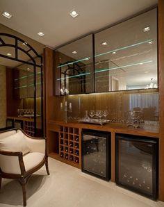 Glass cabinets on top Basement Bar Designs, Home Bar Designs, Mini Bars, Wine House, Interior Decorating, Interior Design, Vintage Bar, Bars For Home, Home Fashion