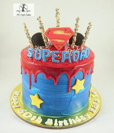 Superdad Dripping Cake Dad Birthday Cakes 60th Party Ideas