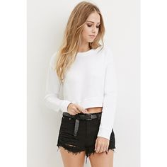 Forever 21 Forever 21 Women's  Textured Crop Top ($13) ❤ liked on Polyvore featuring tops, crop top, forever 21, white long sleeve top, white knit top and long sleeve tops