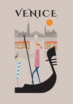 Venise Estampe 11 x 16 A3 affiche murale art décor par BJEartshop