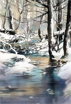 New Year's Eve - Ohio. Thomas W Schaller - Watercolor. Watercolor Water, Watercolor Landscape Paintings, Watercolor Trees, Watercolor Artwork, Watercolor Artists, Painting Snow, Winter Painting, Winter Art, Winter Landscape