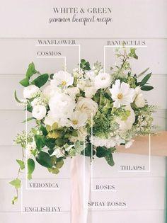 3 Seasonal Bridal Bouquet Recipes – Threads & Blooms – My Wedding Dream Church Wedding Flowers, Wedding Flower Guide, White Wedding Bouquets, Wedding Flower Arrangements, Bridal Flowers, Flower Bouquet Wedding, Bride Bouquets, Green Wedding, Wedding Centerpieces