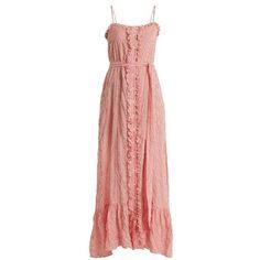 Lisa Marie Fernandez Ruffled button-through striped cotton-blend dress ($745) ❤ liked on Polyvore featuring dresses, red stripe, ruffle dress, beach slip, beachy dresses, bandeau top and red striped dress