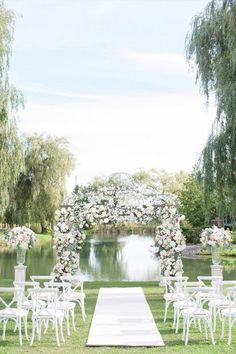 Outdoor Wedding Ceremonies WedLuxe – An Ultra-Intimate, Luxe Wedding at an Ontario Winery Wedding Venues Toronto, Outdoor Wedding Venues, Outdoor Ceremony, Canopy Outdoor, Deck Canopy, Window Canopy, Backyard Weddings, Backyard Canopy, Ceremony Backdrop