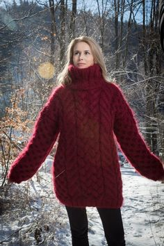 Bordeaux CHUNKY Mohair Sweater Turtleneck Top Thick Pullover Oversized Sweater Tunic Hand Knitted by TanglesCreations Thick Sweaters, Hand Knitted Sweaters, Mohair Sweater, Girls Sweaters, Sweaters For Women, Women's Sweaters, Red Oversized Sweater, Lucci, Wraps