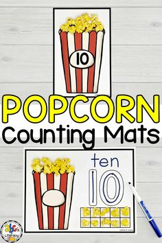 Celebrate National Popcorn day on January 18th with these fun Popcorn Counting Mats!  This interactive number activity is a fun, hands-on way to practice identifying numbers and counting from 1 to 20. Use these numbers mats with your preschoolers or kindergartners for morning baskets, choice tubs, or just as an entertaining, independent activity. Click on the picture to get your Popcorn Counting Mats for free! #popcorncountingmats #countingmats #numbermats #choicetubs #math #numbersense