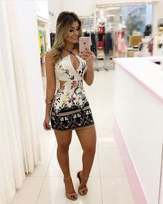 Beautiful sleeveless off-shoulder printed mini dress Tight Dresses, Sexy Dresses, Cute Dresses, Casual Dresses, Short Dresses, Women's Summer Fashion, All Fashion, Women's Fashion Dresses, Womens Fashion