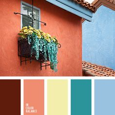 Dark red-brown, rich shade of pink brick, beige, blue-green and light blue - a combination that is perfect for decoration exterior of buildings. As the basic colors can be used not only brick-pink, but also any other in this panel, depending on the particular architecture of the building. In particular, the processing of the cottage, cottages can be based on a blue or blue-green shade, and design of a large country house - on a beige or dark red