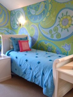 PAISLEY POWER. Vera Bradley meets PBTeen. Walls painted in Sherwin Williams 6731 Picnic and coordinating colors from PBTeen Paisley Pop bedding.