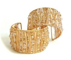 Gold & crystal cuffs created for Sophie Janes (singer/songwriter)