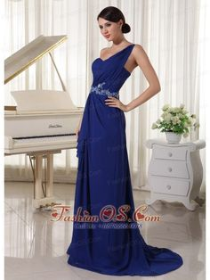 Royal Blue One Shoulder Chiffon Prom / Evening Dress With Brush Train Appliques With Beading and Ruch- http://www.fashionos.com  Passionate temperature is displayed entirely. What's more, no matter what color you chose, the amazing effect won't lose. This prom dress makes you a princess when you wear it. The asymmetrical one shoulder covered by bandage style fabric and a beaded decoration in the centre release your sweet quality.