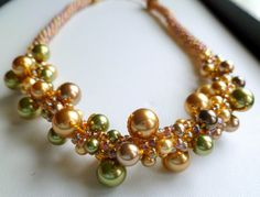Beaded Kumihimo pearl cluster necklace warm by TheBeckoningCat, $125.00