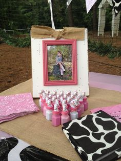 Cowgirl party decor - make frames for each girl