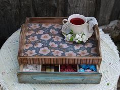 Wooden Serving Tray Coffee Tea Tray Rustic Style Looking Decoupage Technique…