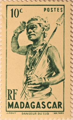 Vintage stamp, Madagascar. Travel to Madagascar with ISLAND CONTINENT TOURS DMC.  A member of GONDWANA DMCs, your network of boutique Destination Management Companies across the globe - www.gondwana-dmcs.net