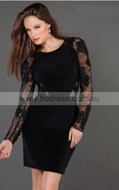 Long Sleeves Zipper Jewel Short Lace Cocktail Dresses d130604167--Hodress