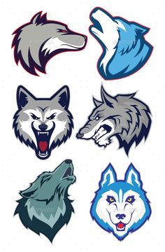 Buy Wolf Mascot Logo by sundatoon on GraphicRiver. Clipart picture of wolfs cartoon mascot logo character. Fully customizable in AI and EPS, Also available in JPG and P. Logo Lobo, Lobo Tribal, Logo Character, Game Logo Design, Esports Logo, Wolf Design, Wolf Pictures, Poses References, Foto Art