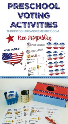 """Preschoolers Can Vote! Preschool voting activities and free printables including """"Vote Today"""" sign, editable ballots, and """"I voted today"""" stickers. Set up a voting booth for children to vote on lunch."""