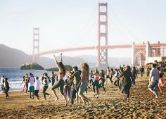 Rolling out a mat at San Franciscos Baker Beach gives us all the feels. With the sand bay and looming Golden Gate Bridge in the backdrop yoga just doesnt get much better! Make sure to check out Sunset Silent Disco Beach Yoga with @outdooryogasf on April 21st! #repost #outdooryoga #sanfrancisco