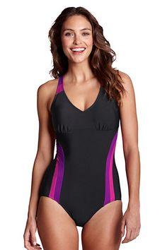 Women's AquaFitness FlutterKick V-neck One piece Swimsuit from Lands' End
