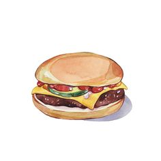 I've been quite busy this week, I'm working on a new exciting project and I can't wait to reveal it all! Meanwhile, here are two new food illustrations - my favourite subject to paint as you may have noticed! Watercolor Food, Watercolor Print, Watercolor Illustration, Graphic Illustration, Burger Drawing, Food Drawing, Pinterest Instagram, Food Sketch, Food Painting