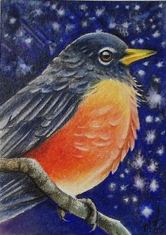 Winter Robin Bird Art by Melody Lea Lamb ACEO by MelodyLeaLamb (Art & Collectibles, Prints, Giclee, giclee, small art, charming, melody lea lamb, bird, bird art, cute, melody lamb, winter bird, backyard bird, aceo, colorful gift, robin)