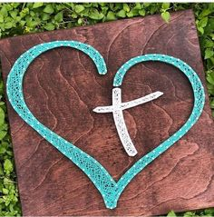 heart cross religion custom string art