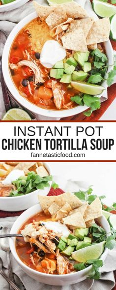 Instant Pot Chicken Tortilla Soup with Sweet Potatoes & Black Beans! The perfect healthy, easy dinner recipe that comes together in no time thanks to the instant pot! #instantpot #healthydinnerrecipes #chickenrecipes #chickensoup #tortillasouprecipe #instantpotsoup #instantpotrecipes #kidfriendlyrecipes