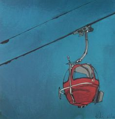 Limited Edition Art Print of Red Ski Lift Les Gets by TraceyOldham, £30.00