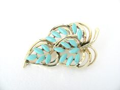 Vintage 1960's Gerry's Gold and Turquoise by BroochesTheSubject, $15.50