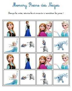 memory la reine des neiges - Lilly is Love Frozen Themed Birthday Party, Princess Birthday, Birthday Party Themes, Disney Cartoon Characters, Disney Cartoons, Free Worksheets For Kids, Summer Club, Prince And Princess, Princess Disney