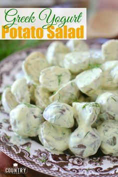 Greek Yogurt Dill Potato Salad is a light, healthy and refreshing salad that skips the mayo but not the flavor! Greek yogurt gives it a zing - so good! French Potato Salad, French Potatoes, Potato Salad Dill, Potato Salad Mustard, Dill Potatoes, Potato Salad Dressing, Salad Recipes Yogurt, Easy Salad Recipes, Healthy Recipes