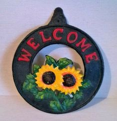 Holly Hobbie, Cast Iron, It Cast, Leather Wall, Metal Plaque, Yellow Sunflower, Iron Wall, Tin Signs, Yellow Leather