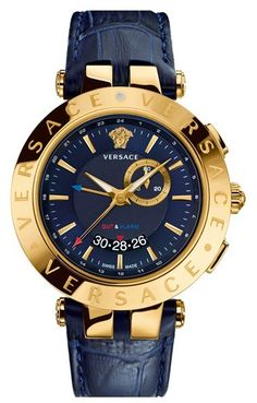 Versace 'V-Race GMT' Round Leather Strap Watch, 46mm https://api.shopstyle.com/action/apiVisitRetailer?id=484846876&pid=uid8100-34415590-43