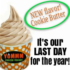 This is it you guys! It's our LAST DAY FOR THE YEAR! We're open our regular hours: 12-8! And we have a NEW flavor for you: COOKIE BUTTER! (Like peanut butter, but with ground up cookies instead of nuts!) #yummmfroyo #frozenyogurt #froyo #pendletonoregon #pendletonroundup #speakeasyclothingco #foodtruck #new #flavoroftheday #lastday #closing