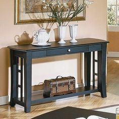 Steve Silver Company Cassidy Wood Console Table, Black