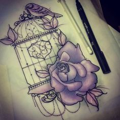 bird and cage tattoo - Google Search