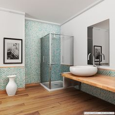 Epic Le immagini di large bathroom with wood floor and vintage mosaic light blue