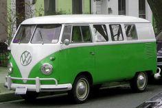 Green and white VW Camper T1 split screen